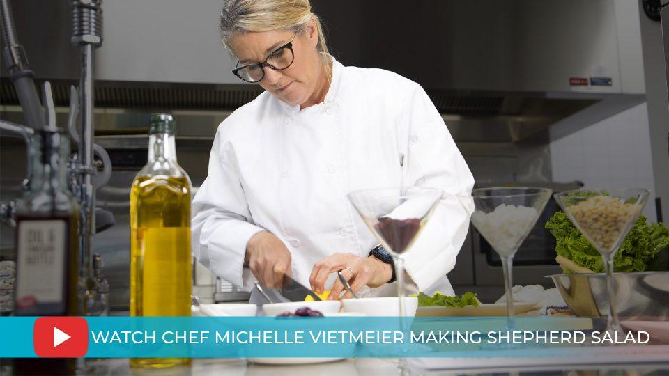 Chef Michelle Vietmeier making Gourmet Shepherd Salad