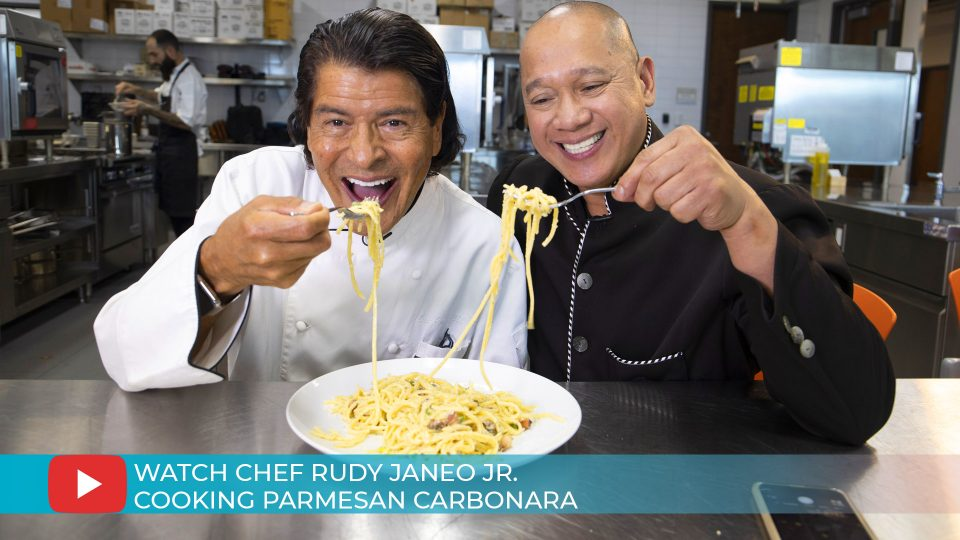 Chef Rudy Janeo Jr cooking Parmesan Carbonara