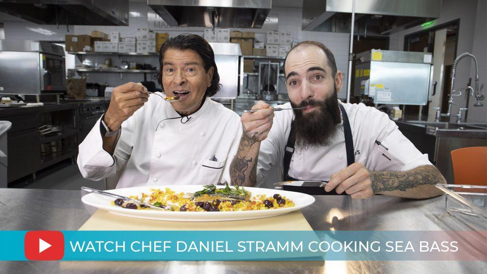 Chef Lucio Arancibia & Chef Daniel Stramm cooking Sea Bass